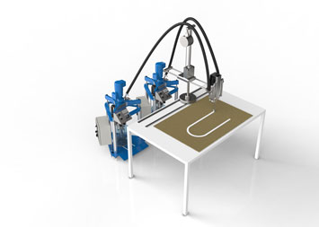 Semi-automatic dispensing system for honeycomb potting applications.