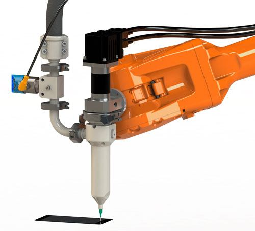 A ViscoTec metal-free dispenser mounted on a 6-axis robot arm dispenses adhesive – metal-free in the area in contact with the product.
