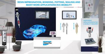 L'expérience d'un dosage virtuel sur le ViscoTec Dispensing Expo 2021: Un aperçu d'un exemple du stand E-mobilité.