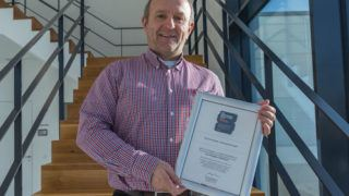 ViscoTec CEO Georg Senftl with certificate