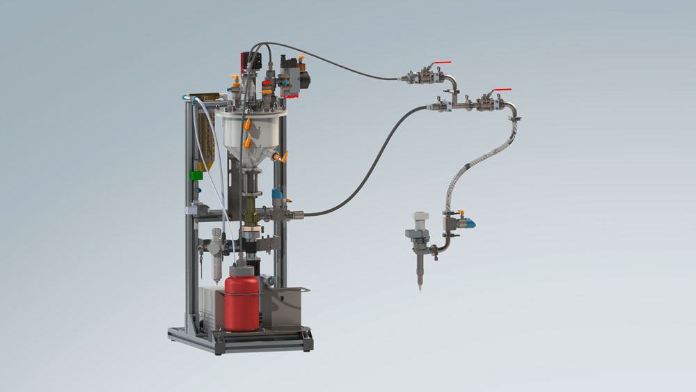 Complete dosing system with fluid & paste emptying system and 1-component dispenser