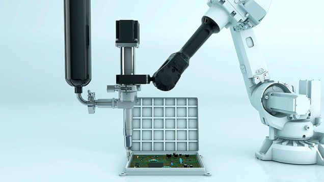 Anwendungsbeispiel: Dosieren von Klebstoff auf einen Batterierahmen mit einem Dispenser aus dem Hause ViscoTec