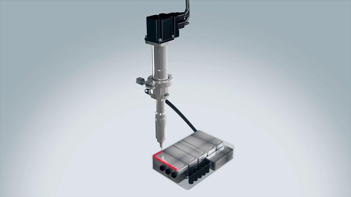 Klebstoffauftrag im Bereich E-Mobilität mit ViscoTec Dosiertechnik