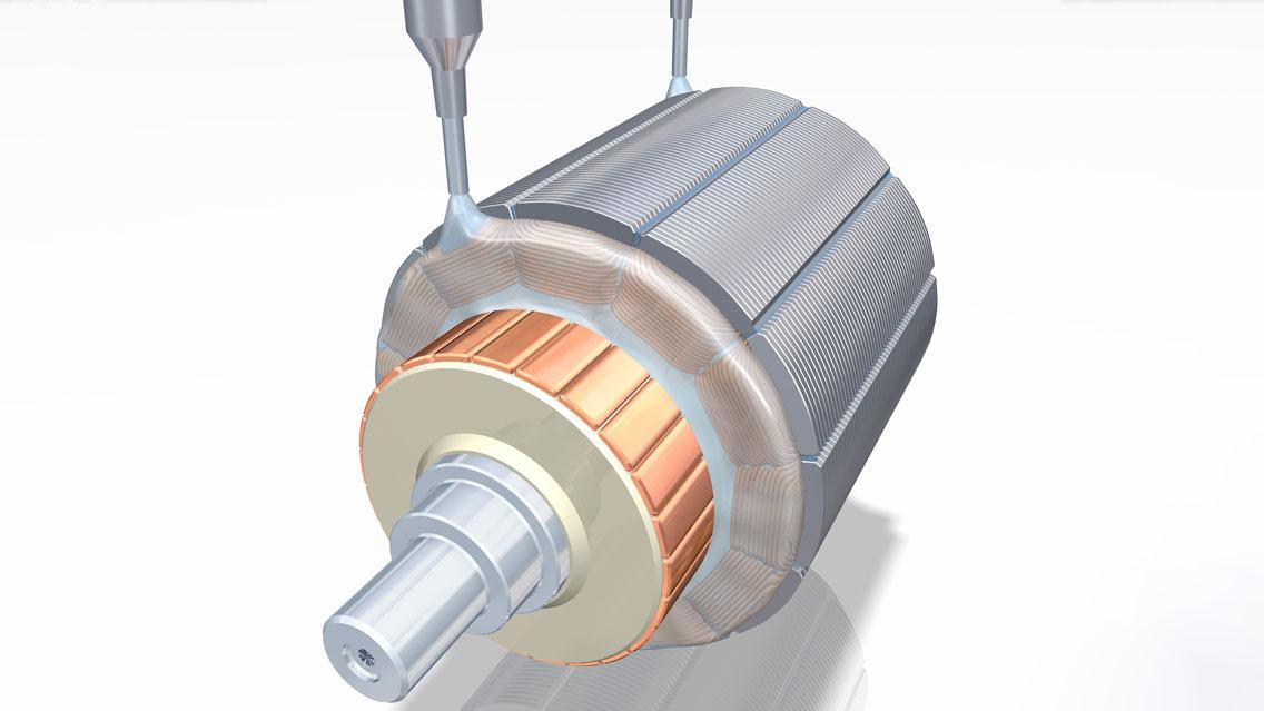 Fertigung Elektromotor: Wicklungen werden imprägniert