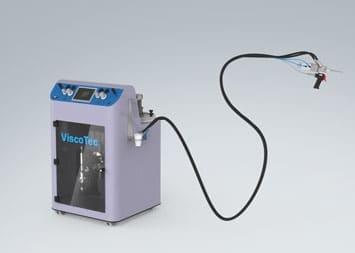 ViScaMix 2-component dispensing system with ViscoTec RD dispensers – for manual potting applications.